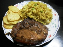 BBQ with curry rice and chips
